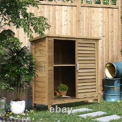 Garden Storage Shed Wooden Garage Organisation Outdoor Cabinet, 87x46.5x96.5cm