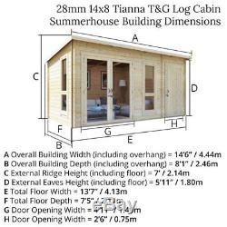 Garden Summer House Wooden Log Cabin Side Storage Shed Family Room Office 14 x 8