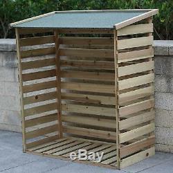Garden Wooden Log Store Shed Double Wheelie Bin Rubbish Dustbin Storage Cover