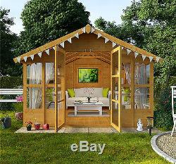 Garden Wooden Summer House LARGE Traditional Shed Cabin Overhang Tu0026G 10x10  Patio