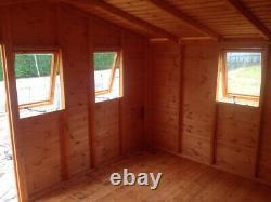 Garden shed 12x10 3ft door opening windows 13mm t+g 3x2 frame 1 thick floor