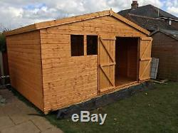 Garden shed 14x10 extra height 13mm t+g cladding 3x2 frame 1thick floor fitted