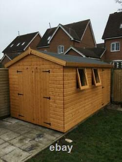 Garden shed 14x8 opening windows 13mm t+g cladding 3x2 frame 1 thick floor
