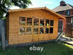 Garden shed Summerhouse 12X10 2ft roof overhang 13mm t+g 3x2frame 1 floor