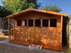 Garden shed Summerhouse 12X8 plus 2ft porch 13mm t+g 3x2 frame 1 thick floor
