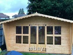 Garden shed Summerhouse 12X8 plus 2ft tapered sides 13mm t+g 3x2 frame 1 floor