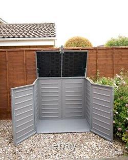 Grey Plastic Garden Storage Shed Tool Wheelie Bin Unit Outdoor Wood Effect