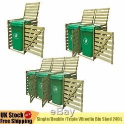 Impregnated Single/Double /Triple Wheelie Bin Shed 240 L Garden Storage Dustbin