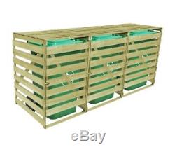Impregnated Triple Wheelie Bin Shed Garden Store Wood 3 X 240L Bin Capacity