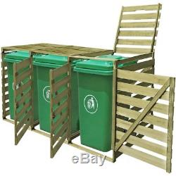 Impregnated Triple Wheelie Bin Storage Shed Wood 240 L Depositing Rubbish Garden