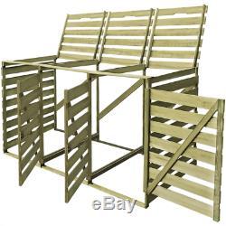 Impregnated Triple Wheelie Bins Shed Garden Store Wood 240L Bin Capacity Durable