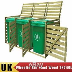 Impregnated Triple Wheelie Bins Shed Outdoor Garden Storage Wooden Bin 3X240L