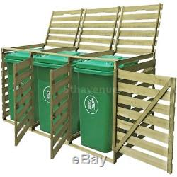 Impregnated Triple Wheelie Shed for 3x240 L Garbage Bins Garden Storage D8W1