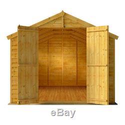 Keeper Overlap Wooden Garden Shed Storage Double Door Wood Store Apex Roof Felt