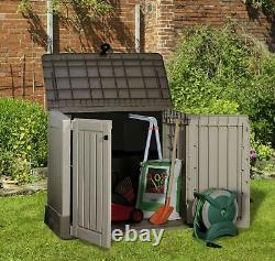 Keter XL Store-It Out Midi Outdoor Plastic Garden Storage Shed, Beige & Brown