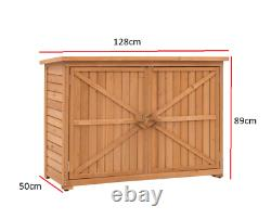 Large Outdoor Wooden Storage Cabinet Garden Tool Storage Shed Brown Container UK