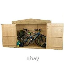 Large Timber Wooden Storage Double Door Outdoor Bike Shed Apex Garden DIY Store