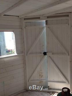 Large wooden corner garden shed, summer house 8ft x 8 ft used
