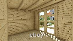 Log Cabin Garden shed 3mx2.4m+4m/ 28mm floor and felt INCLUDED