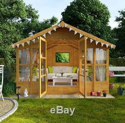 Log Cabin Summer House Garden Shed Storage Wooden Room Large Workshop  Outdoor UK