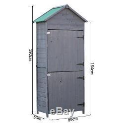 Outdoor Garden Shed Wooden Tool Storage Shelves Utility Cabinet 2 Door Grey