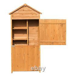 Outdoor Garden Shed Wooden Tool Storage Shelves Utility Cabinet Apex Roof 2 Door