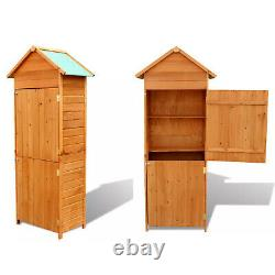 Outdoor Garden Shed Wooden Tool Storage Shelves Utility Cabinet Waterproof Roof
