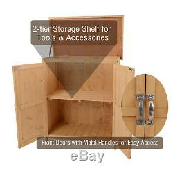 Outdoor Garden Storage Shed Tool Wooden Box Double Doors with Shelf Hinged Roof