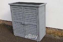 Outdoor Garden Wooden Storage Cabinet or Tool Shed In Grey