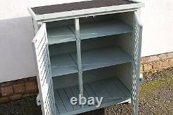 Outdoor Garden Wooden Storage Cabinet or Tool Shed In Sage Green