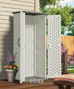 Outdoor Storage Shed Tall Plastic Garden Tool Cabinet Vertical Utility Cupboard