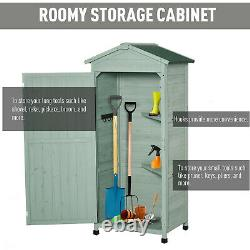 Outsunny 74x55x155cm Garden Storage Shed Cabinet 2 Shelves Hooks Lock Green