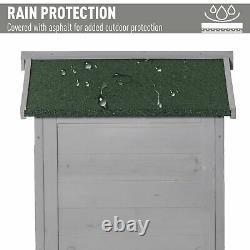 Outsunny 74x55x155cm Garden Storage Shed Cabinet 2 Shelves Hooks Lock Grey