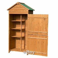 Outsunny 90x50cm Wooden Garden Shed Outdoor Shelves Utility Tool Storage Cabinet