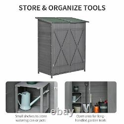 Outsunny Garden Shed Cabinet Box Unit Tool Storage Shelves Wooden Tool Box Grey
