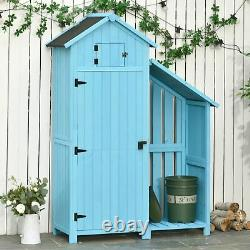 Outsunny Garden Storage Shed Outdoor Firewood House with Waterproof Asphalt Roof