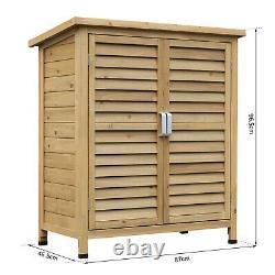 Outsunny Garden Storage Shed Solid Fir Wood Garage Organisation Sturdy Cabinet