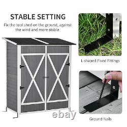 Outsunny Garden Storage Shed Tool Organizer with Table, Hooks, Ground Nails