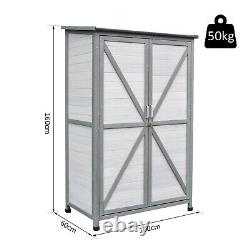 Outsunny Solid Wood Garden Large Storage Outdoor Lawn Shed For Long Tool With Lock