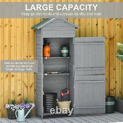 Outsunny Wood Garden Shed Patio Tool Kit Storage Shelf with Tilted-felt Roof Grey