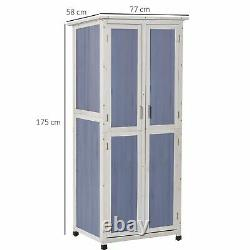 Outsunny Wooden Garden Cabinet 3-Tier Double-door Storage Shed with Hook Foot Pad