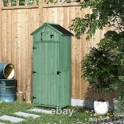 Outsunny Wooden Garden Shed Beach Hut Style Outdoor Tool Storage Box Green