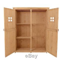 Outsunny Wooden Garden Shed Tool Storage Cabinet Double Door Shelf Natural Wood