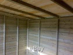 PENT ROOF SUMMERHOUSE DOUBLE DOORS GARDEN TIMBER SHED 2 SECURITY WINDOWS 14x8ft