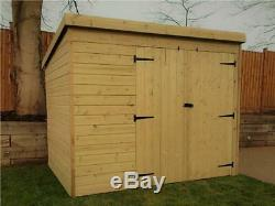 Pent Garden Shed 7x3 Shiplap Pressure Treated Tanalised Double Door Right