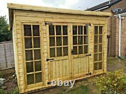 Pent Georgian Garden Summer House Shed Office Log Cabin T&g Tanalised Heavy Duty