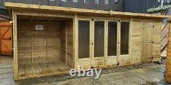 Pinelap 20FT Combination Garden Room Summerhouse Shed Shelter FULLY T&G Anti-Rot