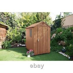 Pre-Built Keter Darwin 6x4 Home Garden Apex Shed Evotech+ Wood Effect Finish