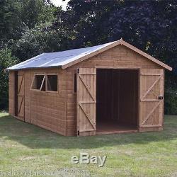 Premier Shiplap T&G 20x10 Wooden Workshop Garden Shed Double Door Apex Windows