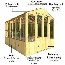 Pressure Treated Wooden Greenhouse Garden Potting Shed Clear Glazing